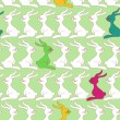 Seamless pattern with cute rabbits — Stock Vector