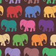 Seamless pattern with colorful cartoon elephant — Vektorgrafik