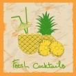 Pineapple cocktail illustration - Stock Vector