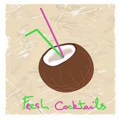 Illustration med kokos och halm — Stockvektor