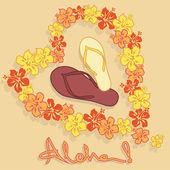 Illustration of Hawaiian flower garland and flip flops — Stock Vector