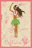 Illustration of girl dancing hula — Stock Vector