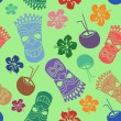 Colorful seamless pattern of tiki — Stock Vector