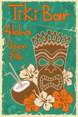 Vintage Tiki bar poster — Stock Vector