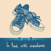 Background of lace pair of sneakers — Stock Vector