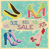 Poster of women shoes on sale — Stock Vector