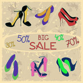 Poster of women shoes on sale — Stockvektor