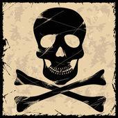 Black skull on a retro background — Stock Vector