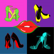 Set of isolated female shoes and lips - Stock Vector