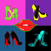 Set of isolated female shoes and lips — Stock Vector