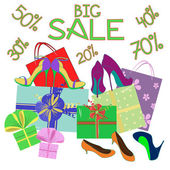 Big sale background of shoes and gift wrap — Stockvektor