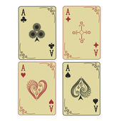 Four Aces of playing cards — Stock Vector