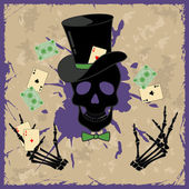 Background with skull and playing cards — Stock Vector