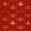Suits of playing cards seamless pattern — 图库矢量图片