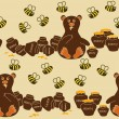 Seamless pattern of bear and bees — Imagen vectorial