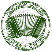 Stamp with Russian accordion — Stock Vector