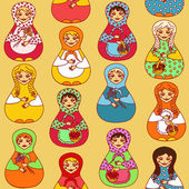Seamless pattern of Russian dolls matrioshka — Vector de stock