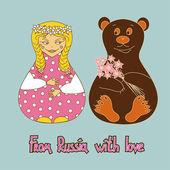 Fundo com boneca russa e urso — Vetor de Stock
