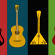 Four isolated flyers with guitars — Imagen vectorial
