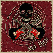 Music flyer or background with skull and guitars — Stock Vector