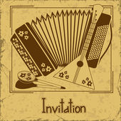 Invitation with folk musical instruments — Stock Vector