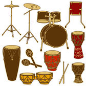 Isolated icons of drum kit and percussion — Stock Vector