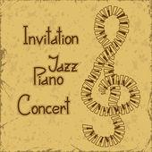 Piyano konseri davetiyesi — Stok Vektör