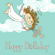 Card for birthday with cupid — Stock Vector #26310827