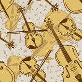 Seamless pattern of contrabass and violin — Stock Vector