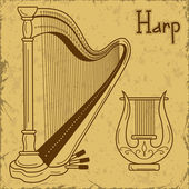 Illustration of isolated harp and lyre — Stock Vector
