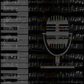 Muziek achtergrond met toetsenbord en microfoon — Stockvector