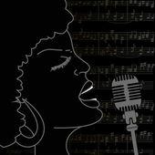 Portrait of singing woman — Stock Vector