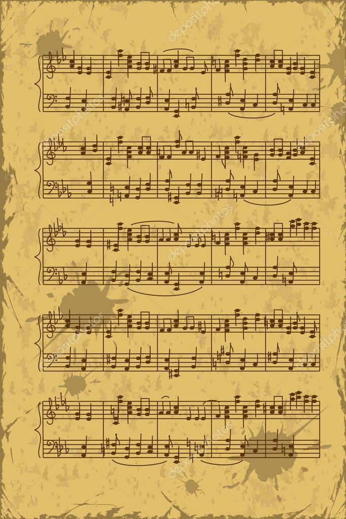 Hoja de notas de música pentagrama — Vector de stock © Annykos ...