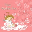 Card for Valentine's Day with cupid and soap bubbles — Vettoriali Stock
