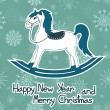 New Year and Christmas card with toy horse — Stock Vector