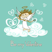 Card for Valentine's Day with cupid — Stock Vector