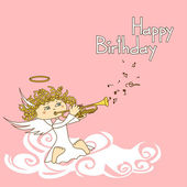 Card for birthday with cupid — Stock Vector