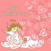 Card for Valentine's Day with cupid and soap bubbles — Stock Vector