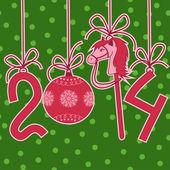 Nieuwjaar en kerstkaart met paard — Vector de stock