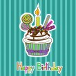 Stock Vector: Card for birthday with cupcake