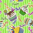 Stock Vector: Seamless pattern of birthdays cupcakes