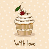 Background with delicious cupcake — Stock Vector