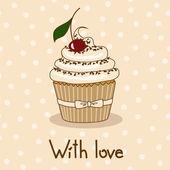 Achtergrond met heerlijke cupcake — Stockvector