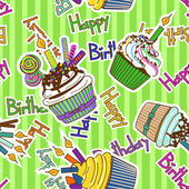 Seamless pattern of birthdays cupcakes — Stock Vector