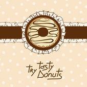 Background with tasty donut — Stock Vector