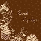 Background with sweet cupcakes — Stock Vector