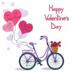 Card for Valentine's day with bicycle — Stock Vector