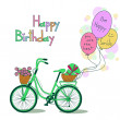 Card for Birthday with bicycle and balloons — Stock Vector