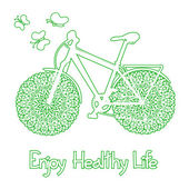 Background with eco bicycle — Vector de stock