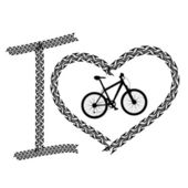 Print of I love bicycle made of tire track — Stock Vector